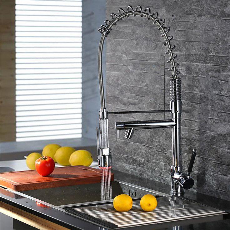 Ausziehbar Küche Wasserhahn Spültischarmatur Armatur LED Einhand  Küchenarmatur