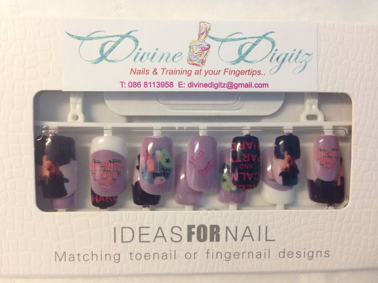 Custom set of printed nails for a hen night. Including a selfie if the Groom :)