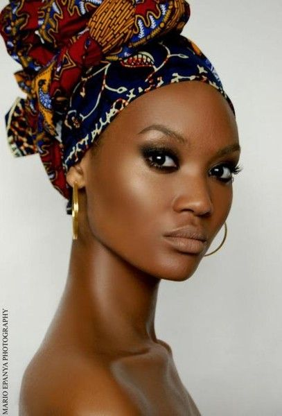 Lovely African American woman in head wrap: nubian queen