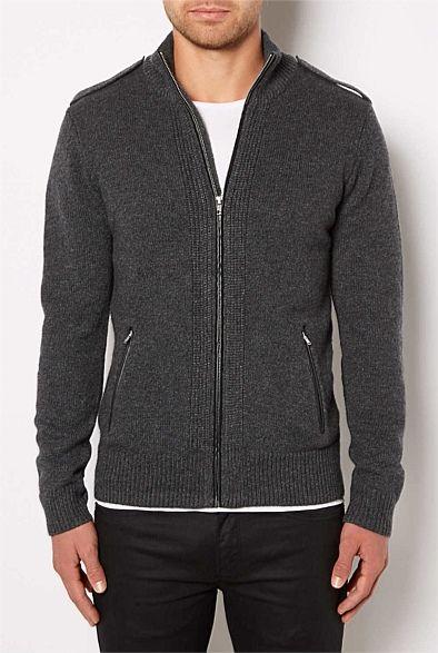 Clothing - Leather Trim Cardigan