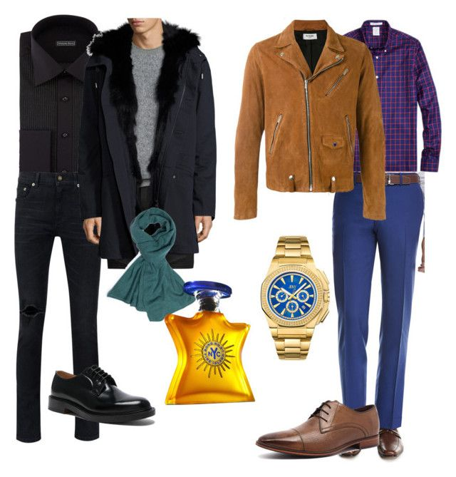 Gideon ouat style by oppachan on Polyvore featuring Stefano Ricci, Brooks Brothers, Kiton, Yves Saint Laurent, Yves Salomon, The Kooples, Julius Marlow, Vetements, JBW and La Portegna