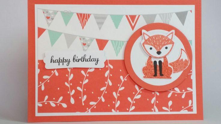 Fox builder punch handmade birthday card coral/white