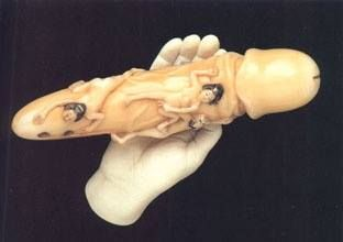 The oldest dildo known is in fact 106,000 years old. Made of carved whalebone, it was found in Iceland and is decorated with Goddess symbols and an ancient menstrual calendar (used by its owner to track her cycles against phases of the moon).