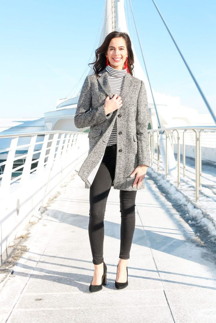 J Crew Tweed Topcoat + Studded Heels. This J. Crew coat is originally $258, but on sale for $52!! Snag one before they're gone!!! Perfect for this cold winter