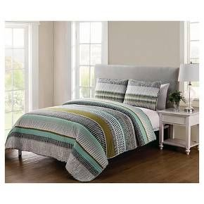 • Eye-catching striped pattern<br>• Rich, versatile hues<br>• Intricate quilted finish<br>• Soft polyester construction<br>• Machine washable<br>• Available in standard mattress sizes<br>• Includes: quilt & 2 pillows shams (1 sham included with twin size)<br><br>The Benton Striped Quilt Set from VCNY will draw you in with its engaging pattern and keep you coming back for its warm...
