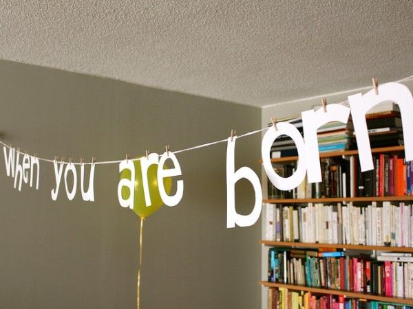 pinning the word garland with clothespins: Shower Ideas, Baby Girl, Baby Shower Banners, Book Inspired Baby, Party Ideas, Clothespins, Kid, Baby Shower