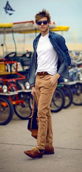 Casual men's beach style. Khaki's white tee and denim shirt.