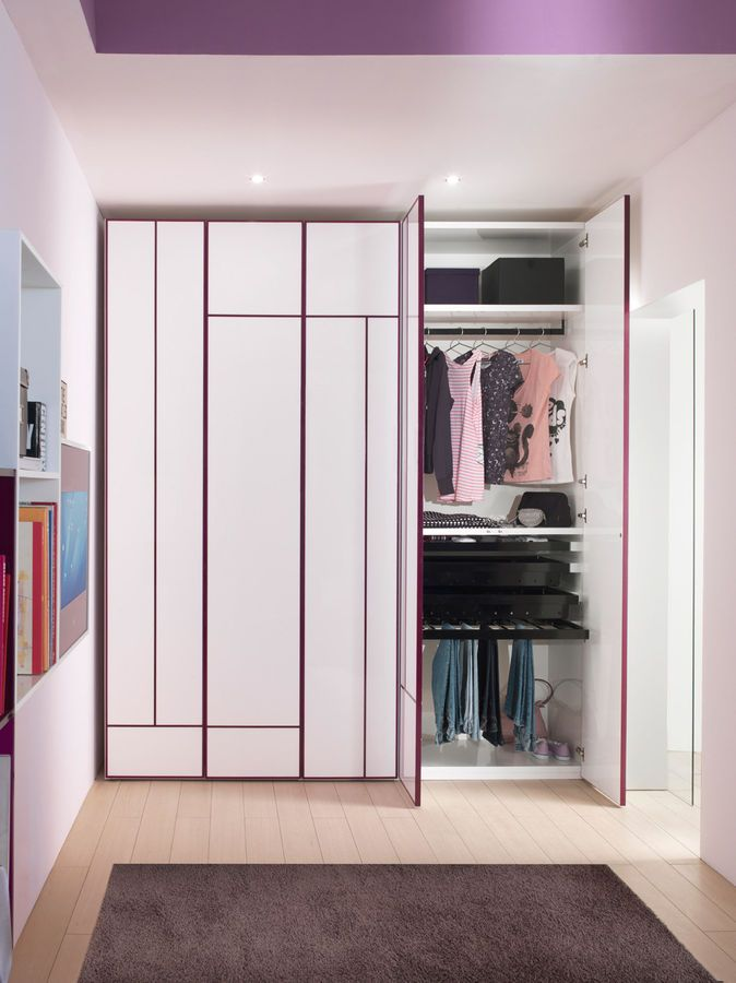 Stunning Minimalist Kids Wardrobes White Purple Color Design In Small  Design With Purple Ceilig Unit With