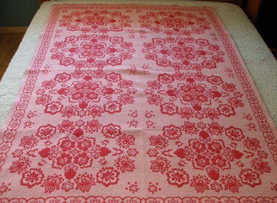 Vintage Damask Floral Red Tablecloth, Bedspread, Tapestry by VintageHomeStories,  #spring #Easter #berdroomDecor #red #Floral #tapestry #Bedding #Wallhanging #vintagehomestories