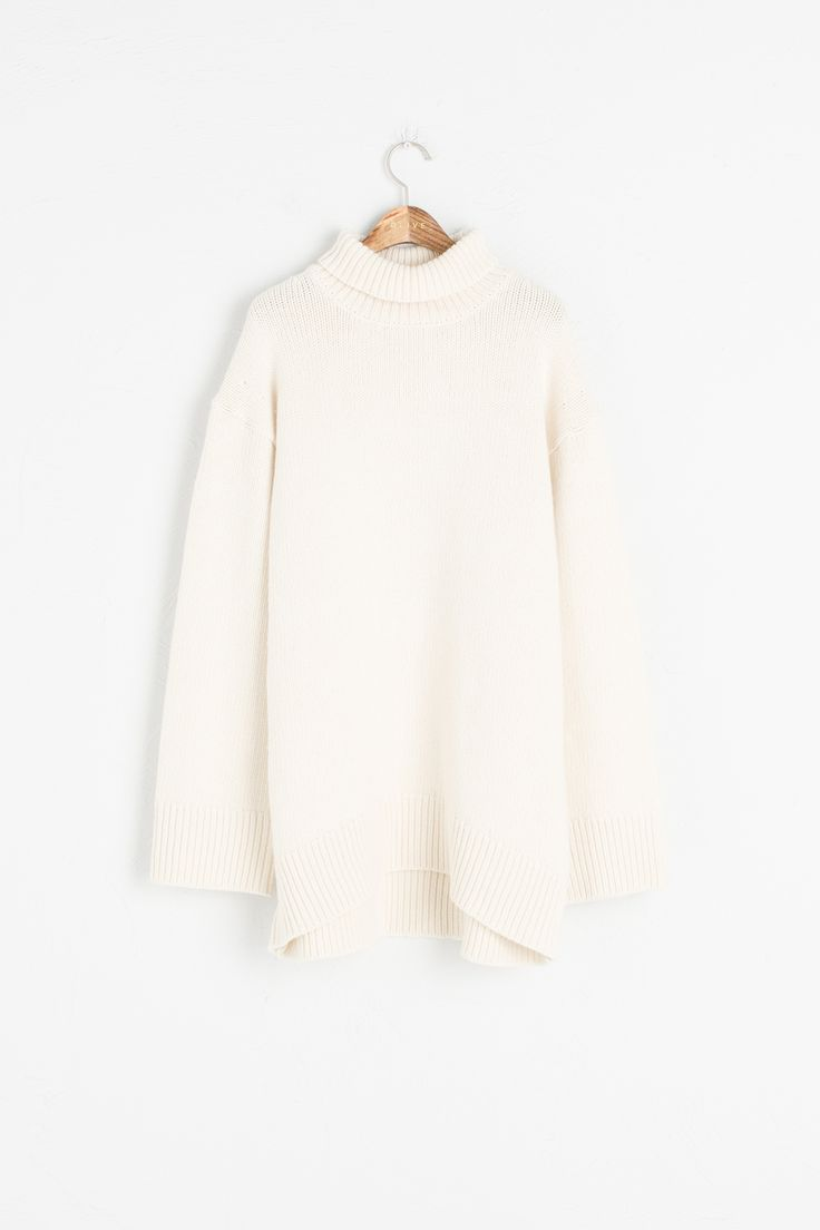 Loose Fit Turtle Neck Long Jumper, Ivory, 95% Wool, 5% Cashmere