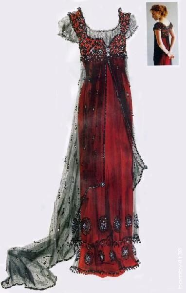 Costume from Titanic: this dress was meant to resemble one from the early 1900's, featuring a tubular silhouettte. It suggests a high waistline and had lace overlays and intricate beading.