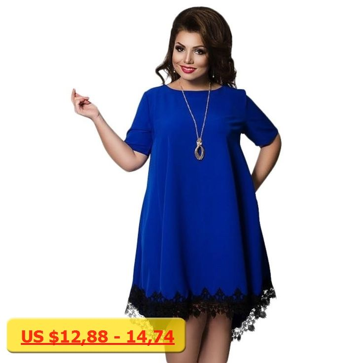 ETOSELL Summer New Fashion Lady Backless Dresses Plus Size Women Clothing Loose Blue Dress Short Sleeve Lace Dress Big Size 6XL