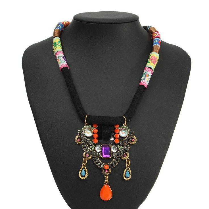 Vintage Colourful Gemstone Bib Collar Statement Necklace Jewelry