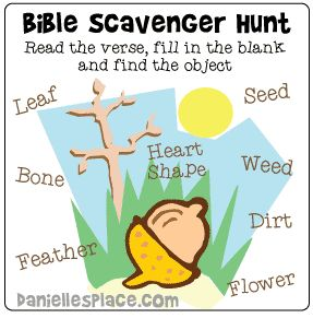 Feee Bible Scavenger Hunt for Church Picnics, etc. from www.danillesplace.com - Children read the verse, fill in the blank, and then look for that object. - Fun for all ages.