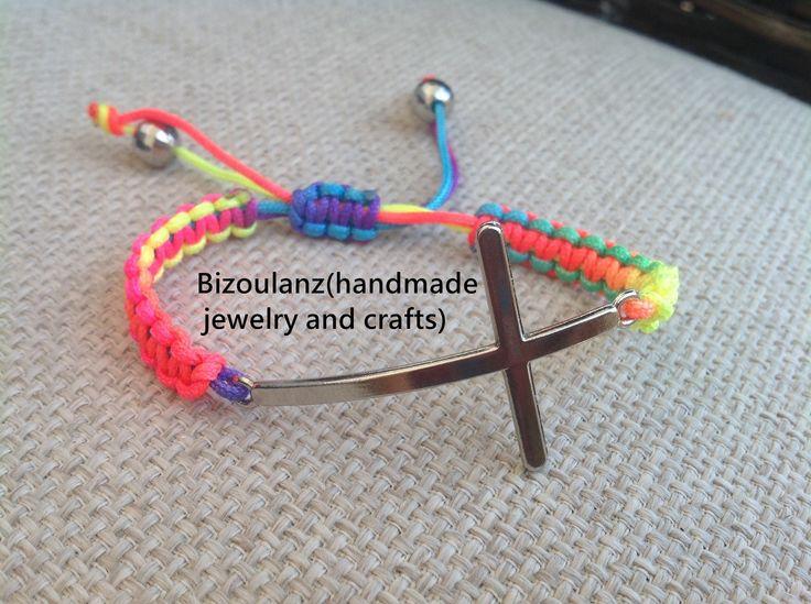 Macrame rainbow cross bracelet