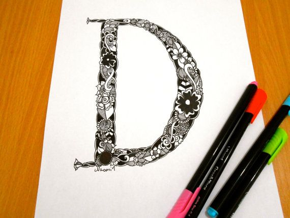 Letter D Decoration Coloring page Adult coloring by GardenDoodles