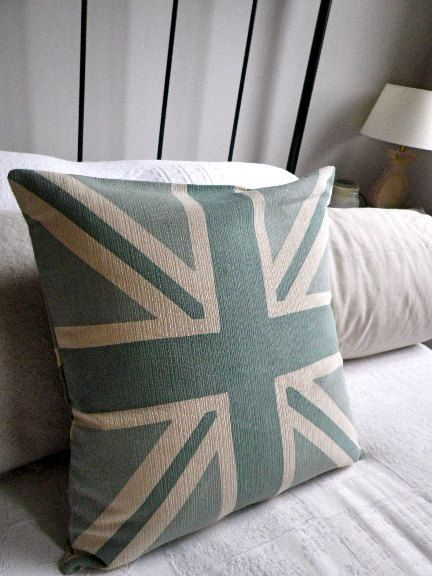 Hand Printed Norfolk Blue Union Jack Reversible Cushion Cover Cushion Cover