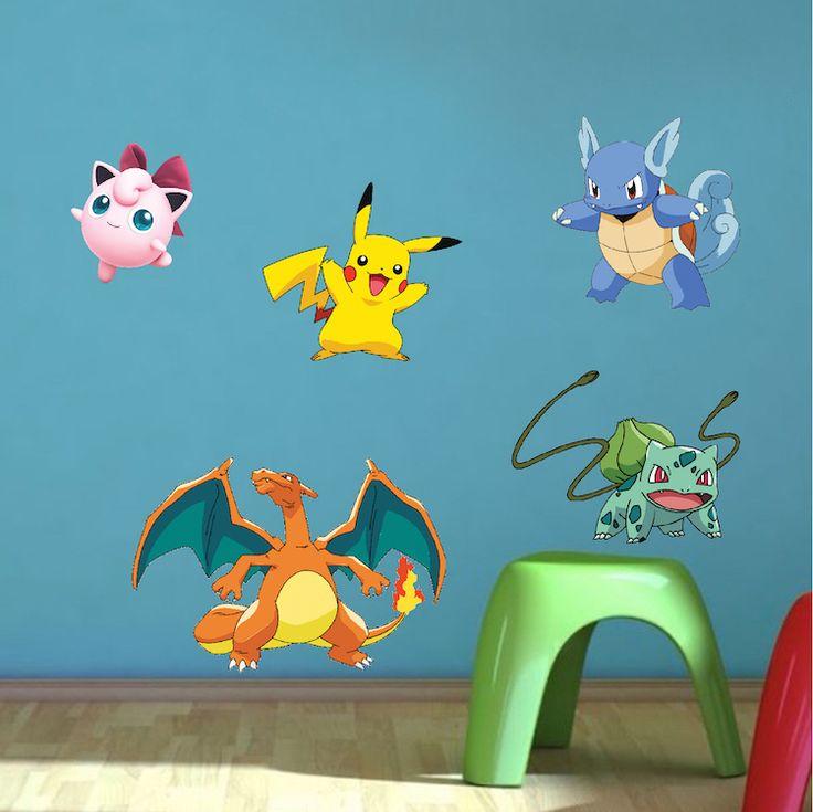 Pokemon Character Wall Graphics - Pokemon Birthday Party Theme Decor - Pikachu Stickers - Pokemon Wall Decals - Primedecals