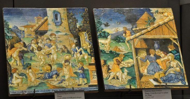 Majolique d'Urbino, œuvre de Francesco Xanto Avelli Plaques : «Cyrus élu roi par les enfants» et «Cyrus enfant recueilli par le berger» de Francesco Xanto AVELLI URBINO, 1536