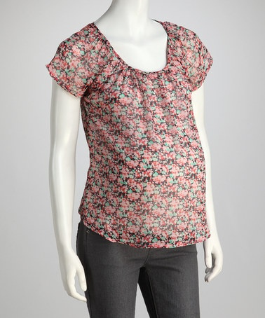 Take a look at this Rose Floral Maternity Short-Sleeve Top by Contact Maternity on #zulily today! $12.99, regular 37.00