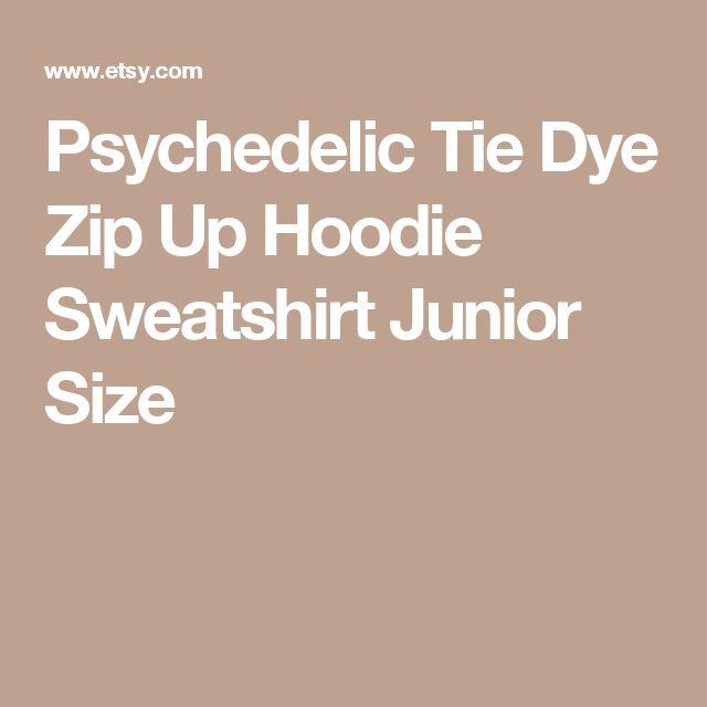 Psychedelic Tie Dye Zip Up Hoodie Sweatshirt Junior Size