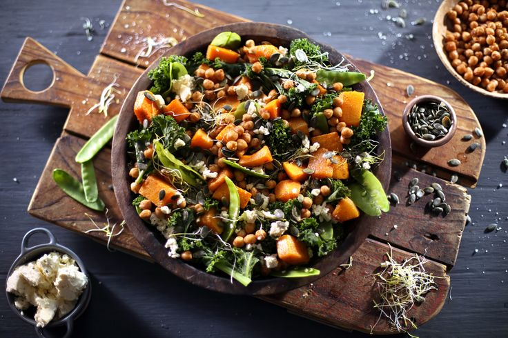 This is a perfectly, satisfying winter salad, filled with the sweet smoky flavours of roasted paprika butternut and garlic fried chickpeas, served on a bed of leafy kale. It's a delicious dish, of complimentary flavours, with all the healthy benefits.