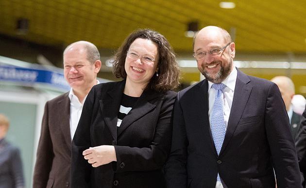 Gut gelaunt in Hamburg: Olaf Scholz, Andrea Nahles, Martin Schulz (von links)