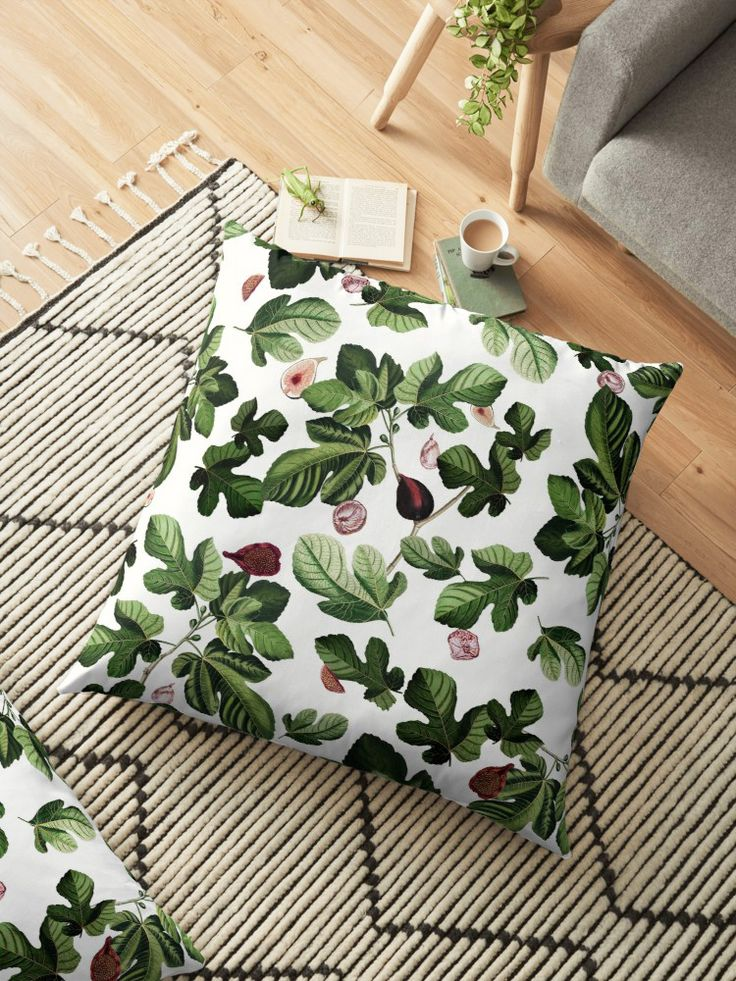 Let Spring come early in your home with this Figs Floor Pillow!  Click! #fifikoussout #print #pattern #design #art #illustration #homedecor #pillow #floorpillow #home #textile #inspiration #fig #flowers #essentials #vibes #mood #inspo #florals #tropical #exotic #plants #white #green #floral #redbubble @redbubble