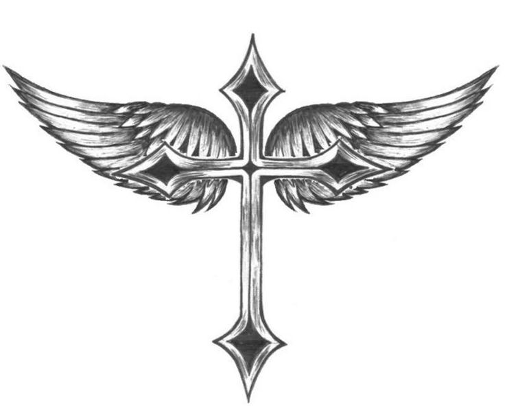 Beaitiful Cross With Wings Tattoo Design