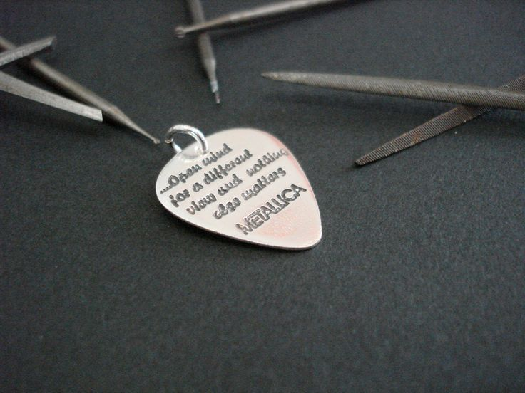 MINI silver handmade guitar pick - METALLICA by art1jewel on Etsy