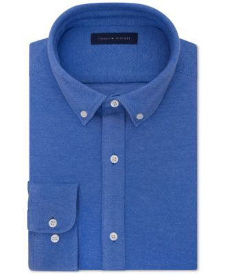 TOMMY HILFIGER Tommy Hilfiger Men's Fitted Knit Button-Down Dress Shirt. #tommyhilfiger #cloth # dress shirts