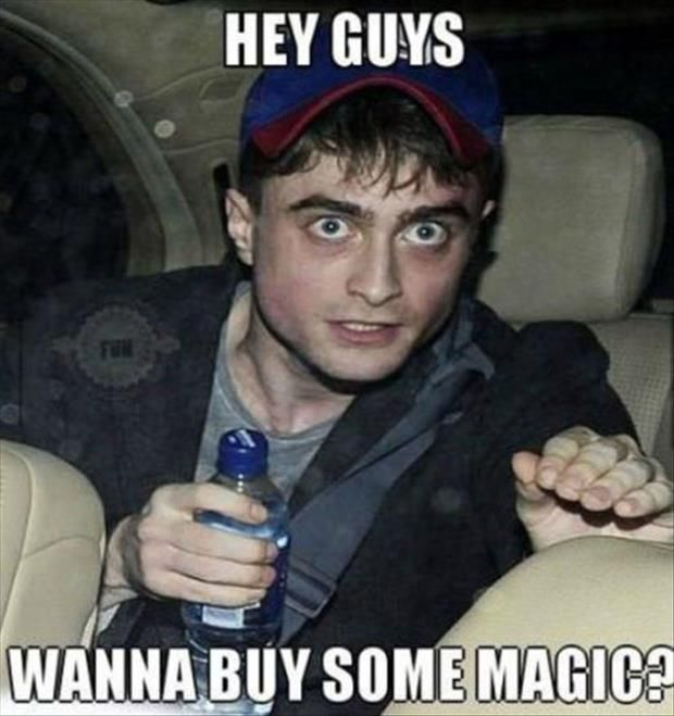This is where all of the laughs are, I'm certain. ...The look on Daniel Radcliffe's face... Basically, this is what would happen if Harry Potter ended up quite different.