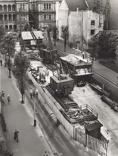 Martin Place Railway Station - looking towards Sydney Hospital - construction…