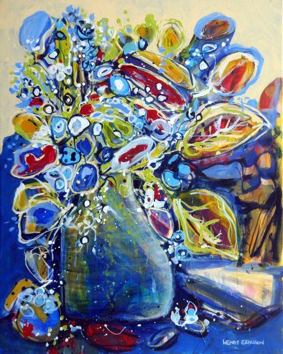 FANTASY STILL LIFE acrylic painting by Wendy Eriksson - $510 available to buy at www.bluethumb.com.au/wendyeriksson #floral #abstract #art