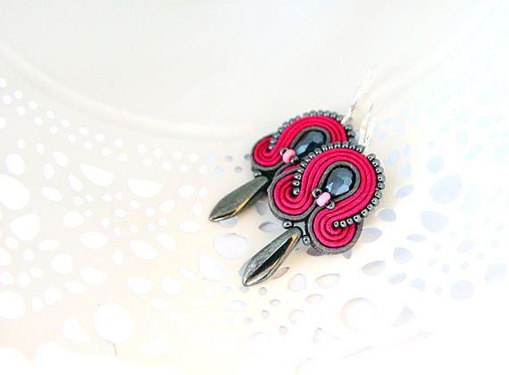 Fuchsia drop earrings soutache pink earrings dangle drop