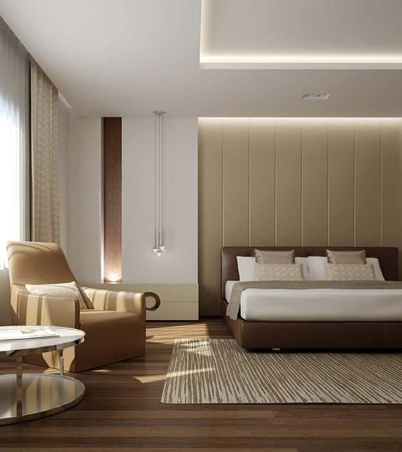 Good layout, recessed curtains and celing and simple clad wall