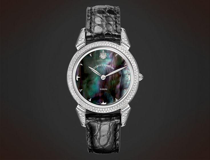 Cuervo y Sobrinos Historiador Lady. Diamonds black mother-of-pearl #watch
