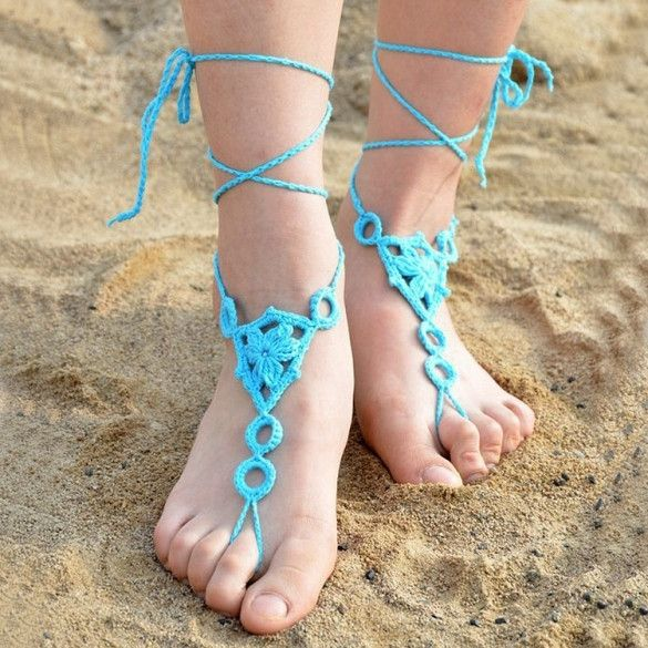 Hot Fashion Lady Women's Casual Hand-made Cotton Crocheted Knit Hollow Out Ankle Bracelet Beach Anklet