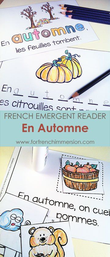 """French Autumn Emergent Reader: En Automne. Kids will be working with the focus sight word by writing, cutting and pasting, tracing, reading, and more! Includes many size options and a """"big classroom book"""" in color and B&W. Fun and effective printable for the French Immersion classroom! Pour l'automne :)"""