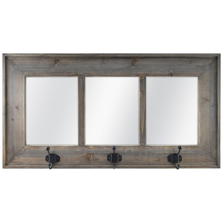 allen + roth 28-in x 14.5-in Weathered Gray Polished Rectangle Framed Country Wall Mirror
