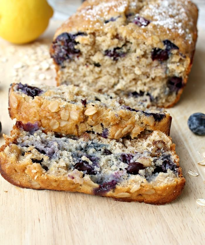 Easy homemade lemon blueberry bread with oats and walnuts. Absolutely heaven for breakfast warm with butter. #baking #breakfast