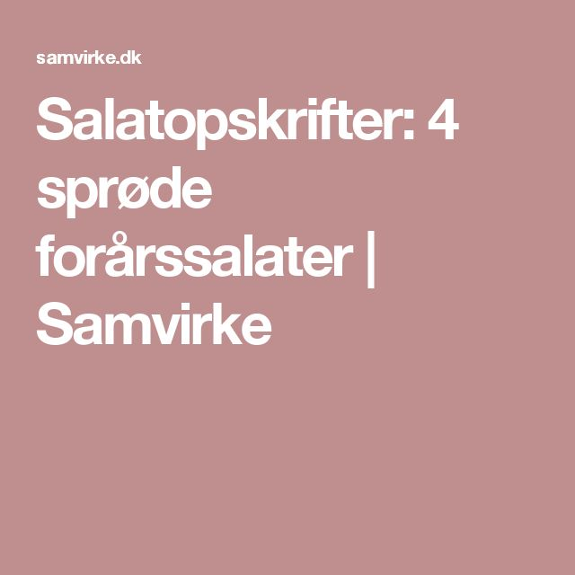 Salatopskrifter: 4 sprøde forårssalater | Samvirke