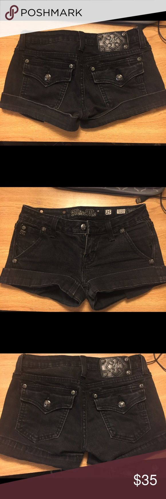 Miss Mes Black Shorts Size 25 like new condition! I usually roll them up but you can also roll them down! Miss Me Shorts Jean Shorts