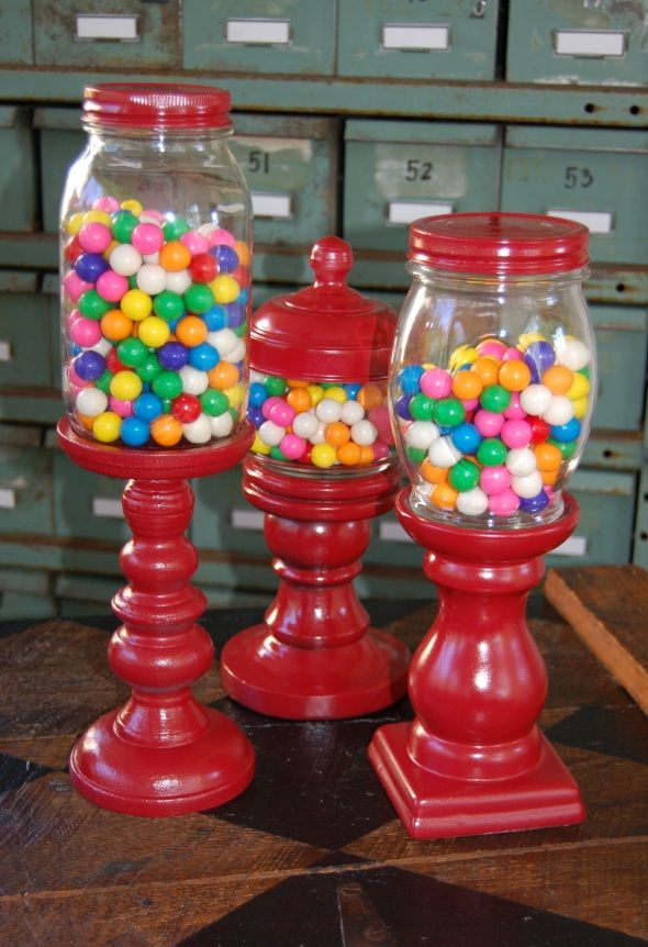 gumball machine from repurposed jars and candlesticks... getch'r glue on!