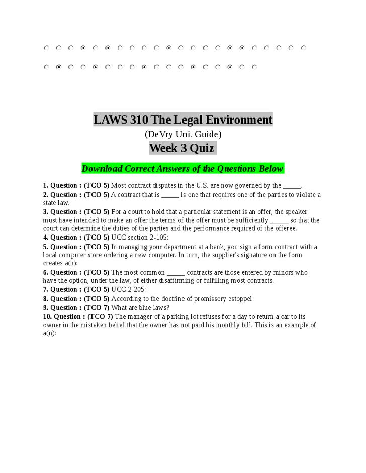 laws 310 week 7 1 question :1 (tco 6) what are the three major sources of contract law, and how do they affect contract law question 2 question : (tco 7) define emancipation, and list a few possible reasons for its occurrence.