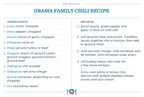 Official Obama Family Chili Recipe