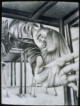 Foreshortening is a distortion of shape where an object seems smaller due to perspective. Here the girl is much smaller than she normally would be proportionally to the hand due to perspective. This is one way to use size relationships to achieve the illusion of space. This occurs because the sizes of the objects are not as we expect. This picture also has amplified perspective.