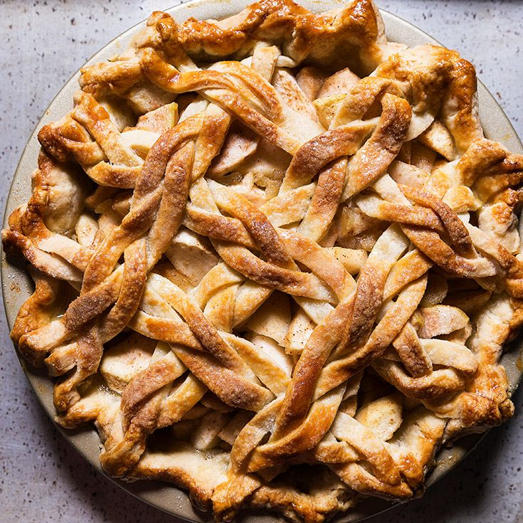 Sweet pears are tossed with ginger in this fall pie, all wrapped up in a gorgeous braided lattice crust.