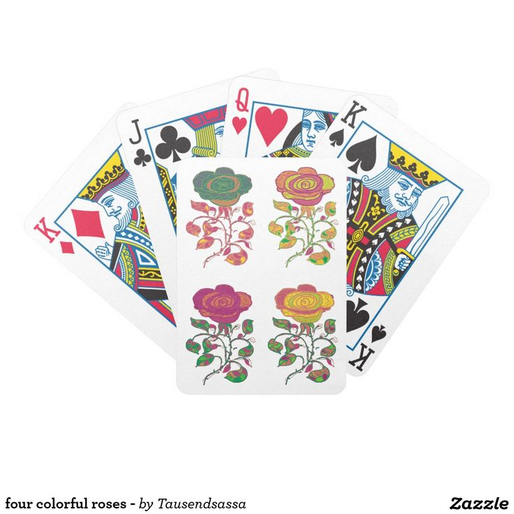 four colorful roses - poker karten