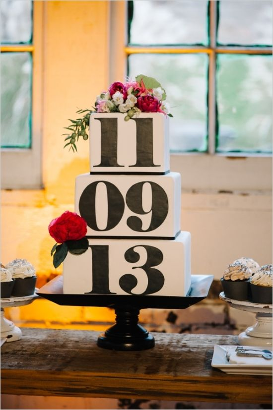 cake with wedding date on it #weddingcake #modernweddingcake #weddingchicks http://www.weddingchicks.com/2014/04/09/illuminated-industrial-wedding-ideas/